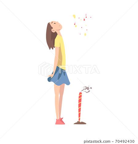 Girl Enjoying Fireworks Show, Teenage Girl Celebrating Holidays Cartoon Style Vector Illustration 70492430