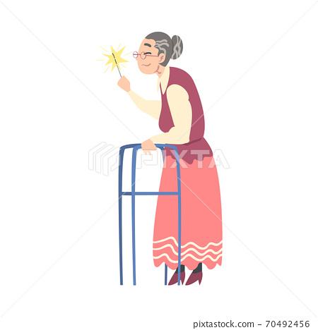 Elderly Woman with Walker Holding Burning Sparkler, Grandma Celebrating Holidays Cartoon Style Vector Illustration 70492456