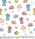Coffee press and cups seamless repeating pattern. Italian Moka pot and coffee cups flowers modern 70492912