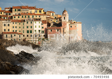 Ancient Tellaro Village with Rough Sea - Gulf of La Spezia Liguria Italy 70493498