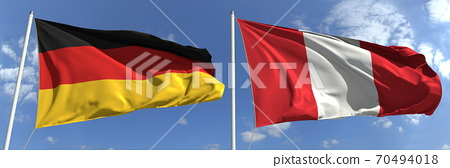 Flying flags of Germany and Peru on sky background, 3d rendering 70494018