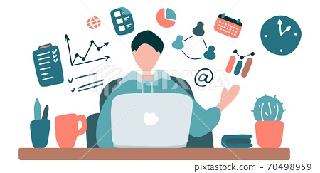 Man teaches online. Blogger is streaming. Guy training online. Online university, video conference, remote work, e-learning concept. Hand drawn flat vector illustration 70498959