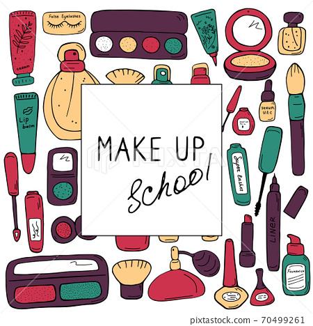 Make up school template. Cosmetics, beauty salon 70499261