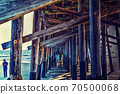 Wooden poles under Santa Monica pier 70500068