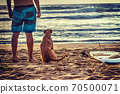 Surfer and dog by the shore 70500071