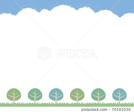 하늘과 가로수와 잔디 프레임 - 흰색 배경 70502036