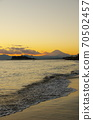 View of Enoshima and Mt. Fuji in the evening view from Inamuragasaki 70502457