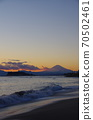 View of Enoshima and Mt. Fuji in the evening view from Inamuragasaki 70502461