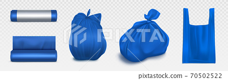 Trash bag mockup, plastic roll, sack with garbage. 70502522