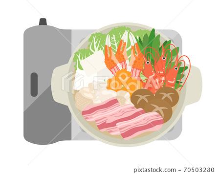 热锅烹调的例证 70503280