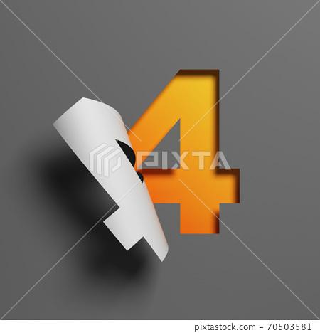 Curl paper font 3d rendering number 4 70503581