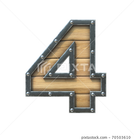 Font made of wooden board with metal frame and rivets, 3d rendering number 4 70503610
