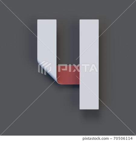 Origami paper font, folded ribbon font 3d rendering, number 4 70506114