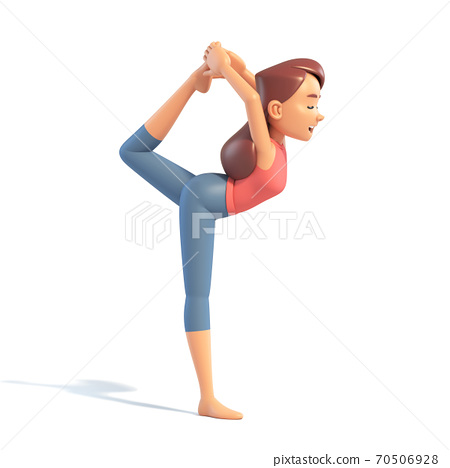 Stretching Yoga girl on white background, cartoon female 3d charcter doing yoga, 3d illustration 70506928
