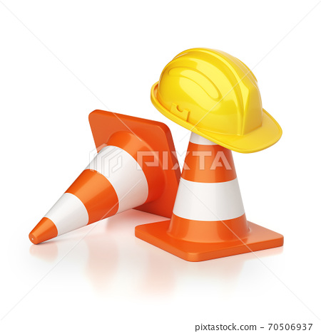Under construction concept, traffic cones and hard hat, 3d rendering 70506937