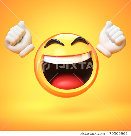 Happy emoji isolated on yellow background, emoticon with raised hands 3d rendering 70506965