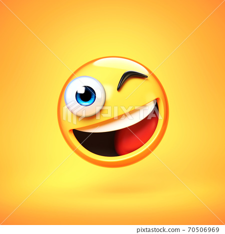 Winking emoji isolated on yellow background, smiling face emoticon 3d rendering 70506969