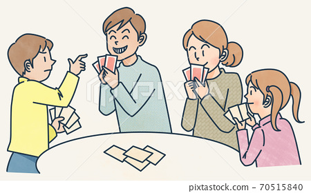 Playing cards with family 70515840