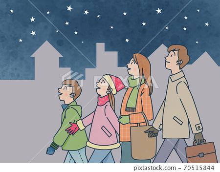 Winter starry sky 70515844