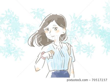 一個女人在工作與溫柔的觸摸的插圖 70517237