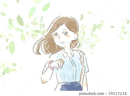 一個女人在工作與溫柔的觸摸的插圖 70517238