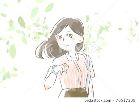 一個女人在工作與溫柔的觸摸的插圖 70517239