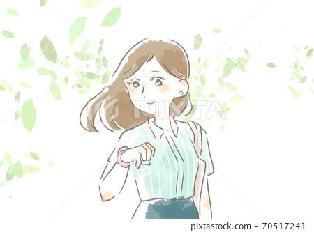 一個女人在工作與溫柔的觸摸的插圖 70517241
