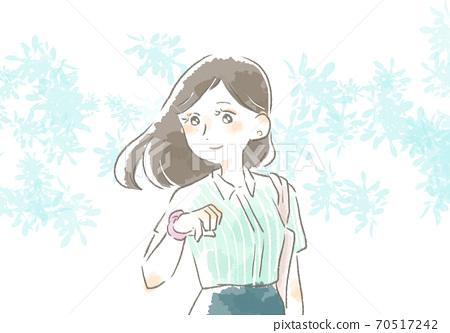 一個女人在工作與溫柔的觸摸的插圖 70517242