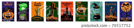Set Halloween holiday greeting card merry pumpkin, spider web, deads, witch, cemetery 70517752