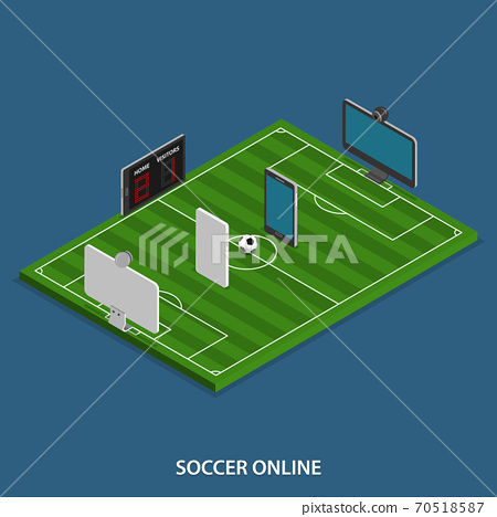 Soccer Online Vector Isometric Concept. 70518587