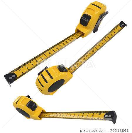Set of bellow carpenter measuring tape isolated on white with units scale 70518841