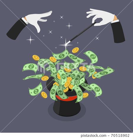 Easy money flat vector isometric illustration. 70518902