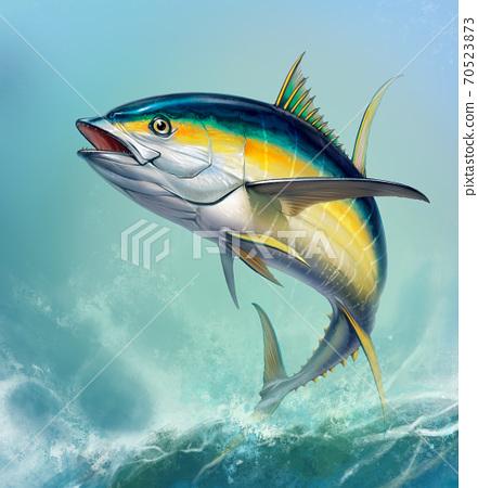 Yellow tuna. black fin yellow tuna on white. Big fish on the background of large waves. 70523873