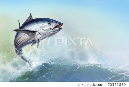 striped tuna, Skipjack Tuna, Katsuwonus pelamis. Tuna on the background of large waves 70523889