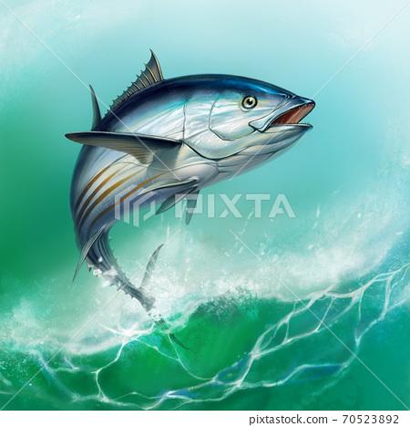 striped tuna, Skipjack Tuna, Katsuwonus pelamis. Tuna on the background of large waves. 70523892