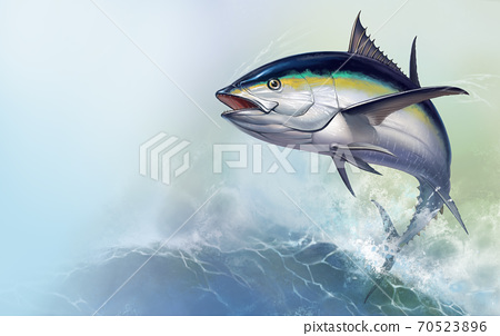 Black fin tuna jumps out of the sea. Realistic illustration of a big fish on the background of large sea waves. 70523896