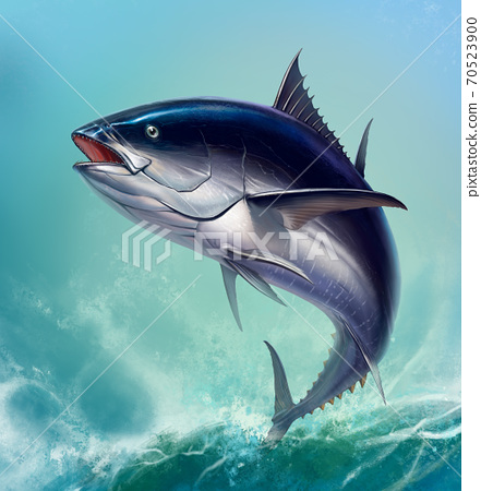 Tuna fish in fast motion Realistic. Black fin tuna blue on the background of large waves. 70523900