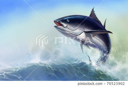 Tuna fish in fast motion Realistic. Black fin tuna blue on the background of large waves. 70523902