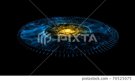 Glowing Stargate Event Horizon Portal. Time Travel, Outer Space, Singularity And Gravitational Waves Concept 70525075