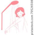 一個女人在洗澡時憂鬱的表情 70526508