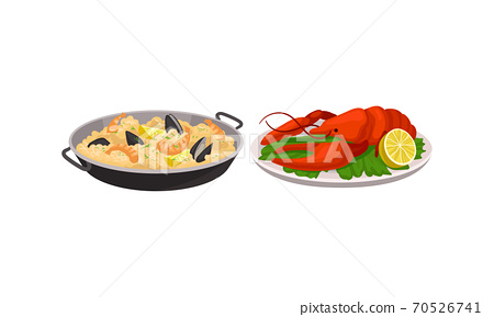 Rice with Shrimps and Herbs Served in Pan and Lobster as Spanish Cuisine Dish Vector Set 70526741