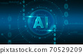 Machine Learning. Abstract Illustration Of Artificial Intelligence AI Logo Over Digital Interface 70529209