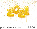 Happy New Year 2021 Background. 2021 number of golden balloons with confetti. Vector illustration. 70531243