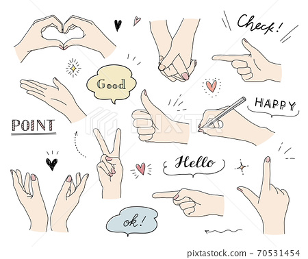 Set of hand-drawn illustrations of hands and hand gestures in various poses / cute / fashionable / numbers / peace sign 70531454