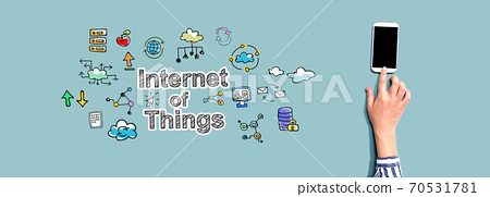IoT with person using smartphone 70531781