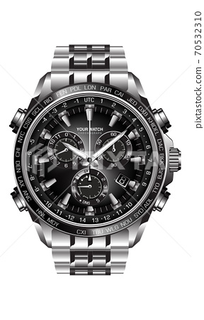 Realistic silver black steel clock watch chronograph on white background design luxury for men vector illustration. 70532310