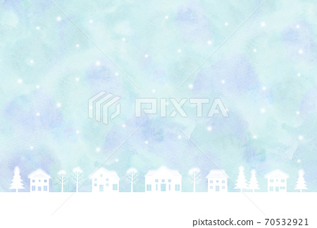 Snowy cityscape silhouette watercolor style 70532921