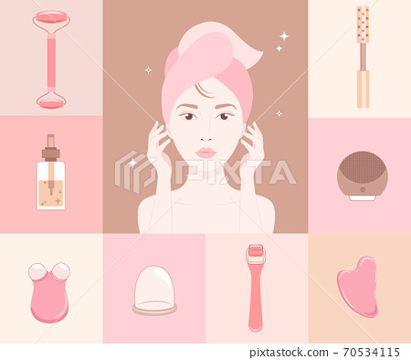 Woman face silhouette and cosmetics gadgets around 70534115