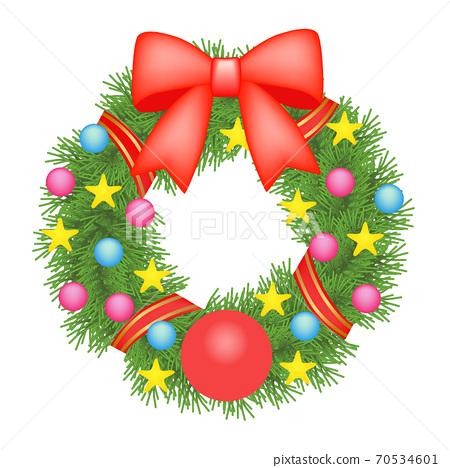 聖誕節插圖素材花圈(2_1) 70534601