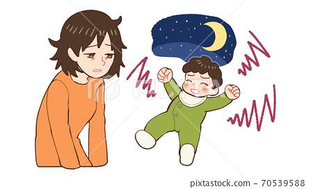 밤 울음 아기, 산후 우울증 엄마 70539588